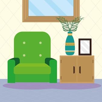 Salon z sofą zieloną sceną