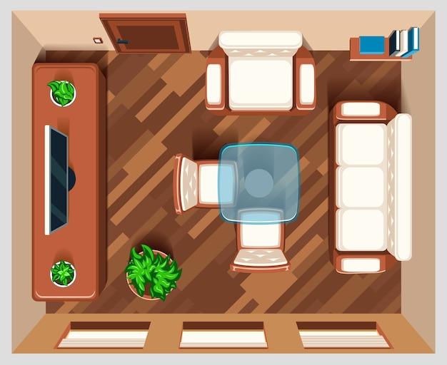 Salon z widokiem z góry mebli. wnętrze pokoju dziennego, pokoju domowego, widoku górnego pokoju, ilustracji mebli stołowych i fotelowych