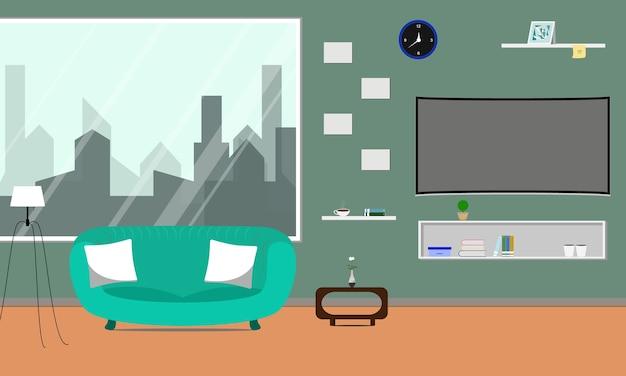 Salon z zakrzywionym smart tv