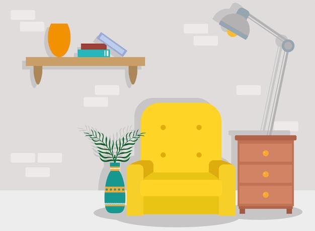 Salon z żółtą sceną na kanapie