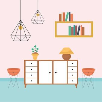 Salon ze stolikami wypełnionymi książkami, jedną rośliną, doniczkami i żyrandolami