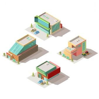 Salony samochodowe salony budynku wektor izometryczny