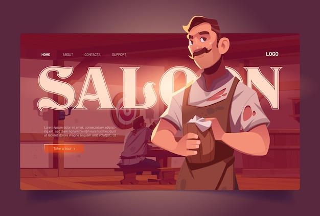 Saloon kreskówka strona docelowa starodawne wnętrze tawerny z baristą trzymającym drewniany kufel i zaproszenie dla gości do retro pubu z piwem antyczny bar z ławkami i stołami biurka