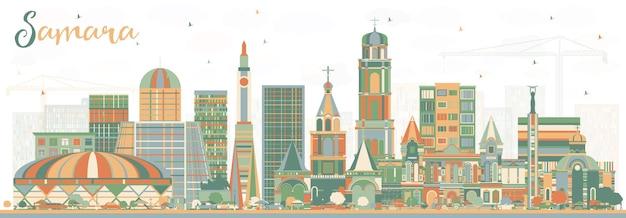 Samara rosja panoramę miasta z kolorowymi budynkami. ilustracja wektorowa. podróże służbowe i koncepcja turystyki z nowoczesną architekturą. samara gród z zabytkami.