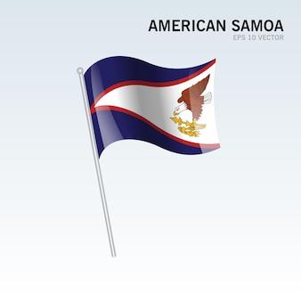 Samoa amerykańskie macha flagą na szarym tle