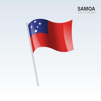 Samoa macha flagą na szarym tle