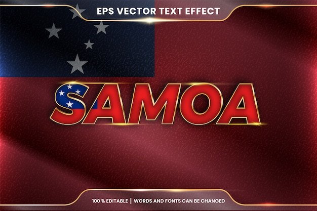 Samoa z flagą narodową kraju, edytowalny styl efektu tekstu z koncepcją gradientu koloru złota
