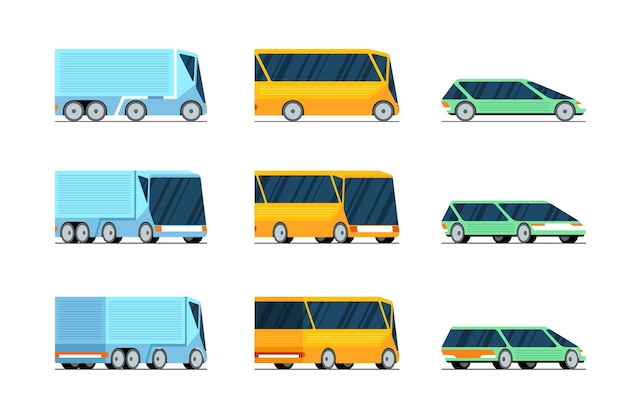 Samochód autobus ciężarówka boczny widok z przodu iz tyłu stylowy zestaw koncepcji projektowych futurystyczne elektryczne hybrydowe auto