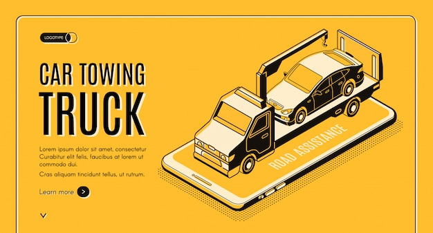 Samochód ciągnący ciężarówki usługi online izometryczny wektor www baner
