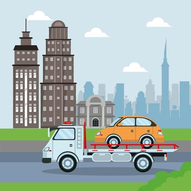 Samochód ciężarowy do przewozu samochodów taksówką na ilustracji miasta
