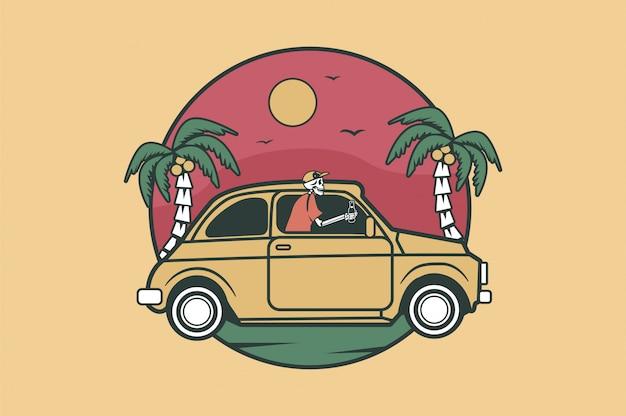 Samochód do surfowania i surfer dla emblematów