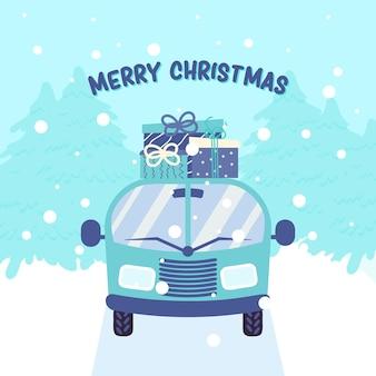 Samochód dostarczający pudełka na prezenty zimowy krajobraz świąteczne tło bożonarodzeniowe