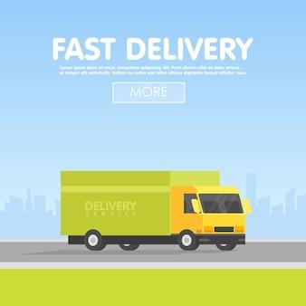 Samochód dostawczy i komplet pudeł kartonowych. ilustracja wektorowa. koncepcja usługi dostawy. miasto w tle.