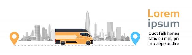 Samochód dostawczy na miasto między wskaźnikami lokalizacji. produkt towar wysyłka transport, szybka ciężarówka serwisowa