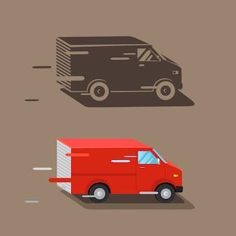 Samochód dostawczy. szybka dostawa furgonetki. ikona samochodu dostawy, sylwetka. ilustracji wektorowych