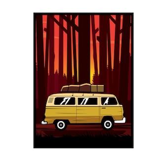 Samochód dostawczy w lesie
