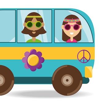 Samochód dostawczy z kwiatu i hipisa pojęcia ludźmi