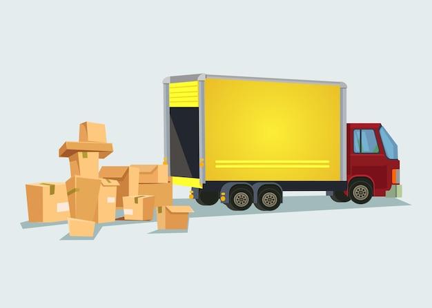 Samochód dostawczy z wieloma pudełkami. ilustracja kreskówka płaska