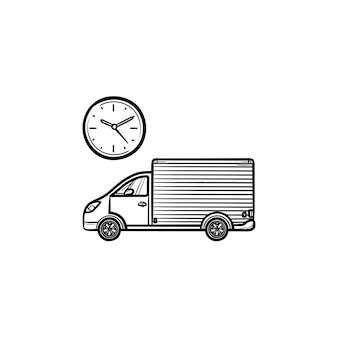 Samochód dostawczy z zegarem ręcznie rysowane konspektu doodle ikona. logistyka, szybka wysyłka, koncepcja opóźnienia zamówienia. szkic ilustracji wektorowych do druku, sieci web, mobile i infografiki na białym tle.