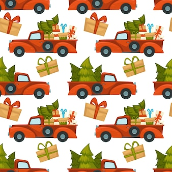 Samochód dostawczy załadowany sosną i prezentami z okazji świąt bożego narodzenia i nowego roku. prezenty świąteczne w pudełkach ozdobionych kokardkami. świerk zimozielony do dekoracji w domu. wektor w stylu płaskiej