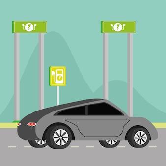 Samochód elektryczny i drogowskaz