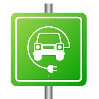 Samochód elektryczny i symbol stacji ładowania elektrycznego
