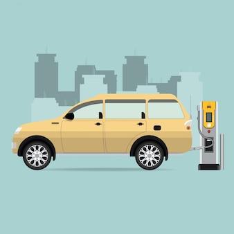 Samochód elektryczny i symbol stacji ładowania elektrycznego.