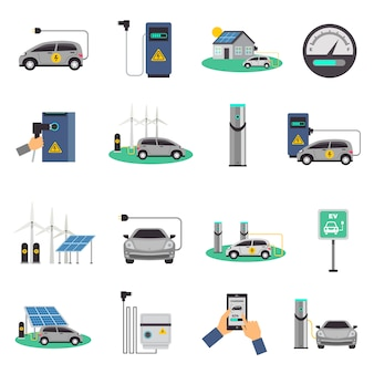 Samochód elektryczny ładowania płaski zestaw ikon