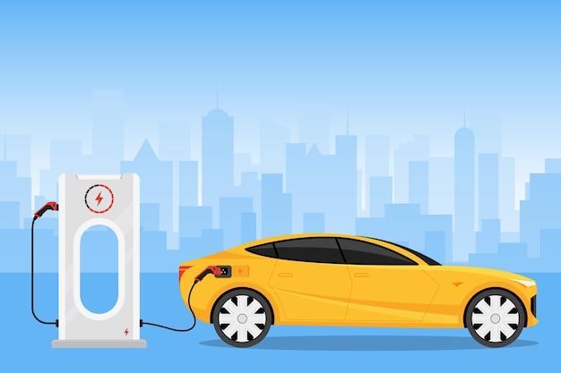 Samochód elektryczny ładowanie na stacji ładowarki ilustracja
