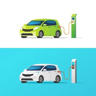 Samochód elektryczny. ładowanie na stacji ładującej. ilustracja.
