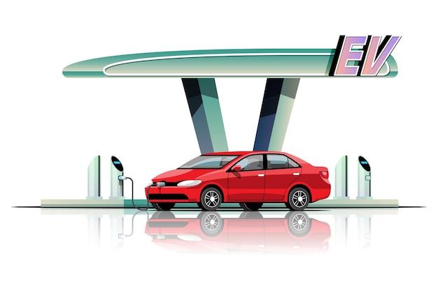 Samochód elektryczny ładuje w płaskiej ilustracji garażowej elektrowni