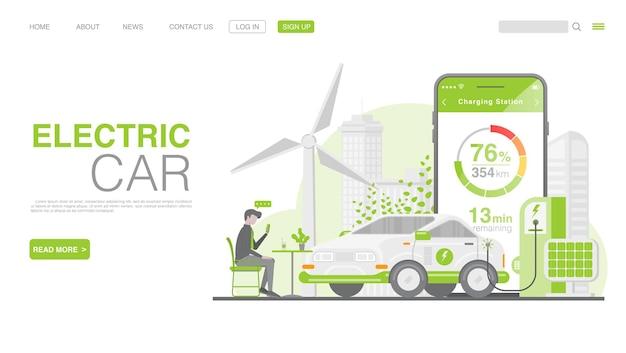 Samochód elektryczny lub samochód elektryczny na stronie docelowej stacji ładowania