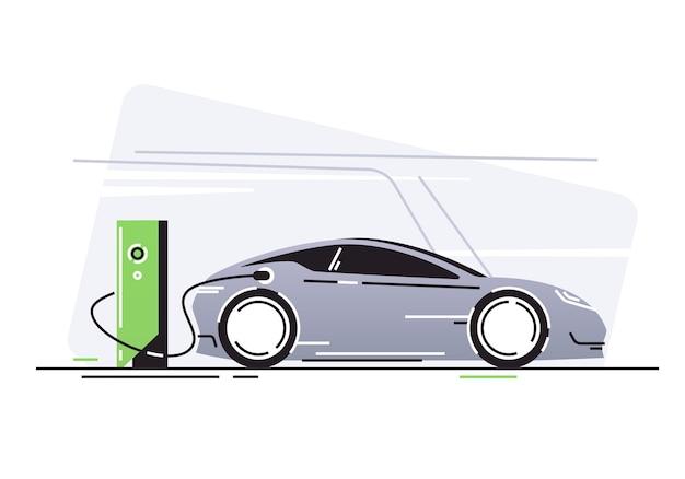Samochód elektryczny na stacji ładowania pojazdu.