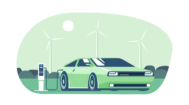 Samochód elektryczny na tle abstrakcyjnego krajobrazu i turbin wiatrowych.