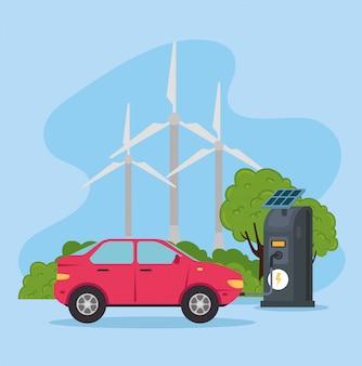 Samochód elektryczny pojazd w stacji ładowania z projektowaniem ilustracji wektorowych paneli słonecznych
