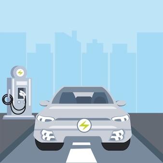 Samochód elektryczny, strefowa stacja ładowania na ilustracji miasta