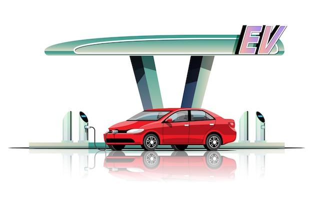 Samochód elektryczny w nowoczesnym stylu ładuje się w elektrowni garażowej