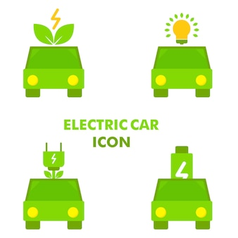 Samochód elektryczny z ikoną energii elektrycznej ikona samochodu elektrycznego koncepcja projektu wektor ikona