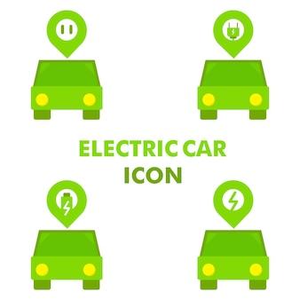 Samochód elektryczny z ikoną lokalizacji i energii elektrycznej jako ikona lokalizacji stacji ładowania samochodów elektrycznych conc