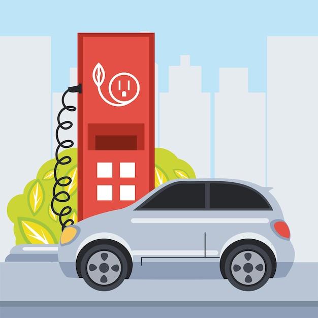 Samochód elektryczny z wtyczką kabla ładowarki ilustracji strefy ekologicznej