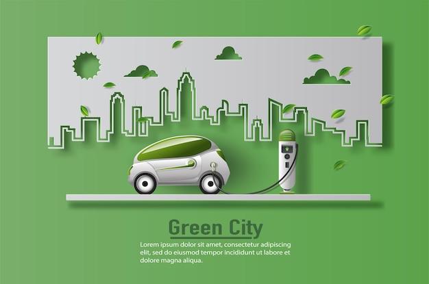 Samochód elektryczny ze stacją ładowania ev w nowoczesnym mieście, oszczędzaj planetę i koncepcję energetyczną.