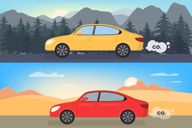 Samochód emituje dwutlenek węgla. zanieczyszczenie powietrza co2. koncepcja niebezpieczeństwo toksyczny dym i ekologia. jazda samochodem po drogach. ilustracja w stylu kreskówki