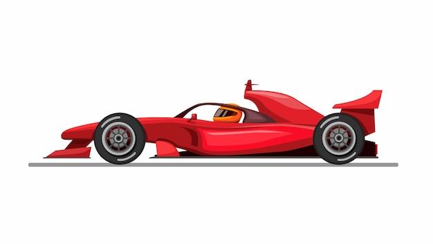 Samochód formuły 1 i kierowca z aureolą aka osłona głowy z koncepcji widoku z boku na ilustracji kreskówka na białym tle