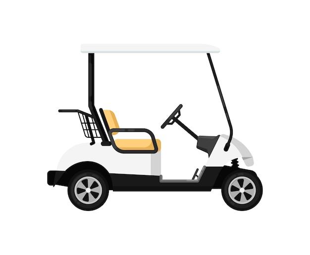Samochód golfowy na białym tle ikona w płaska konstrukcja