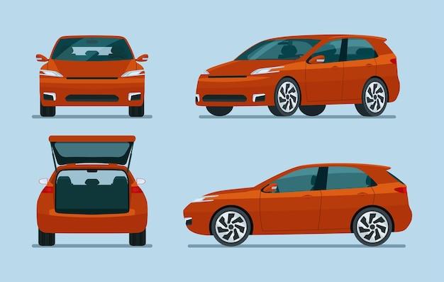 Samochód hatchback cztery kąt zestaw na białym tle na niebiesko