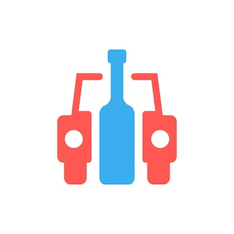 Samochód i butelka jak znak pijanego kierowcy. pojęcie afisz, pijący, zły nawyk, ludzkie problemy, nietrzeźwy. na białym tle. płaski trend w nowoczesnym stylu projektowania ilustracji wektorowych