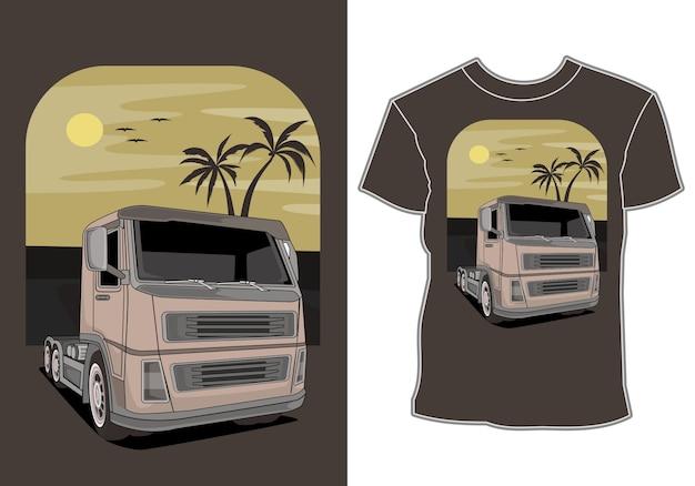 Samochód jest na wakacjach na plaży, projekt koszulki