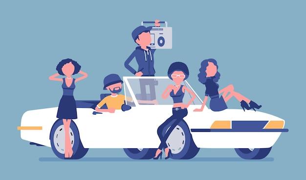Samochód kabriolet z ilustracją ludzi