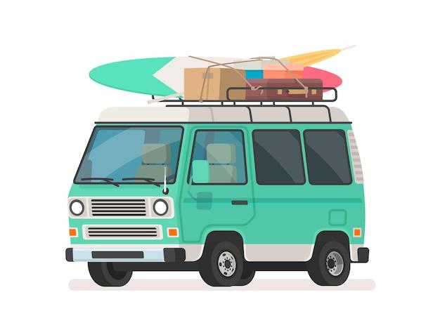 Samochód kempingowy. turystyczny minivan z bagażem. samochód do letnich podróży drogowych. w stylu kreskówki