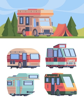 Samochód kempingowy. wektor explorer pojazd ciężarowy dla podróżnych kamperów wektor zestaw w stylu płaski. ilustracja auto camper podróżny, samochód kempingowy van dla podróżnika